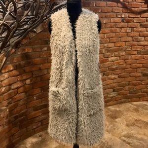 NWT Grey Sherpa Long Open Front Vest